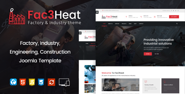 Fac3heat2 – Factory, Industry, Engineering Joomla Template - 3